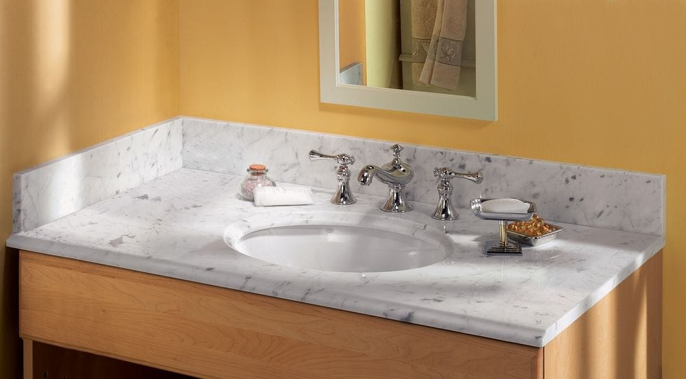 Pedra Marble Vanity Top With Um Oval Bowl Carrara Marble