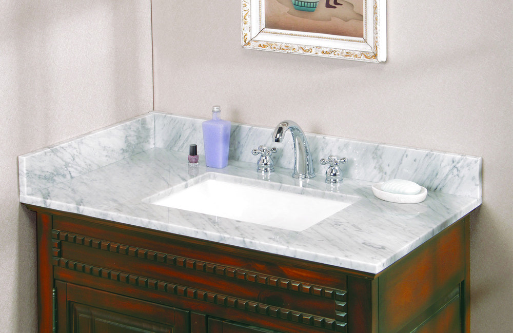 All In One Vanity Tops : Pedra marble vanity top with um trough bowl carrara
