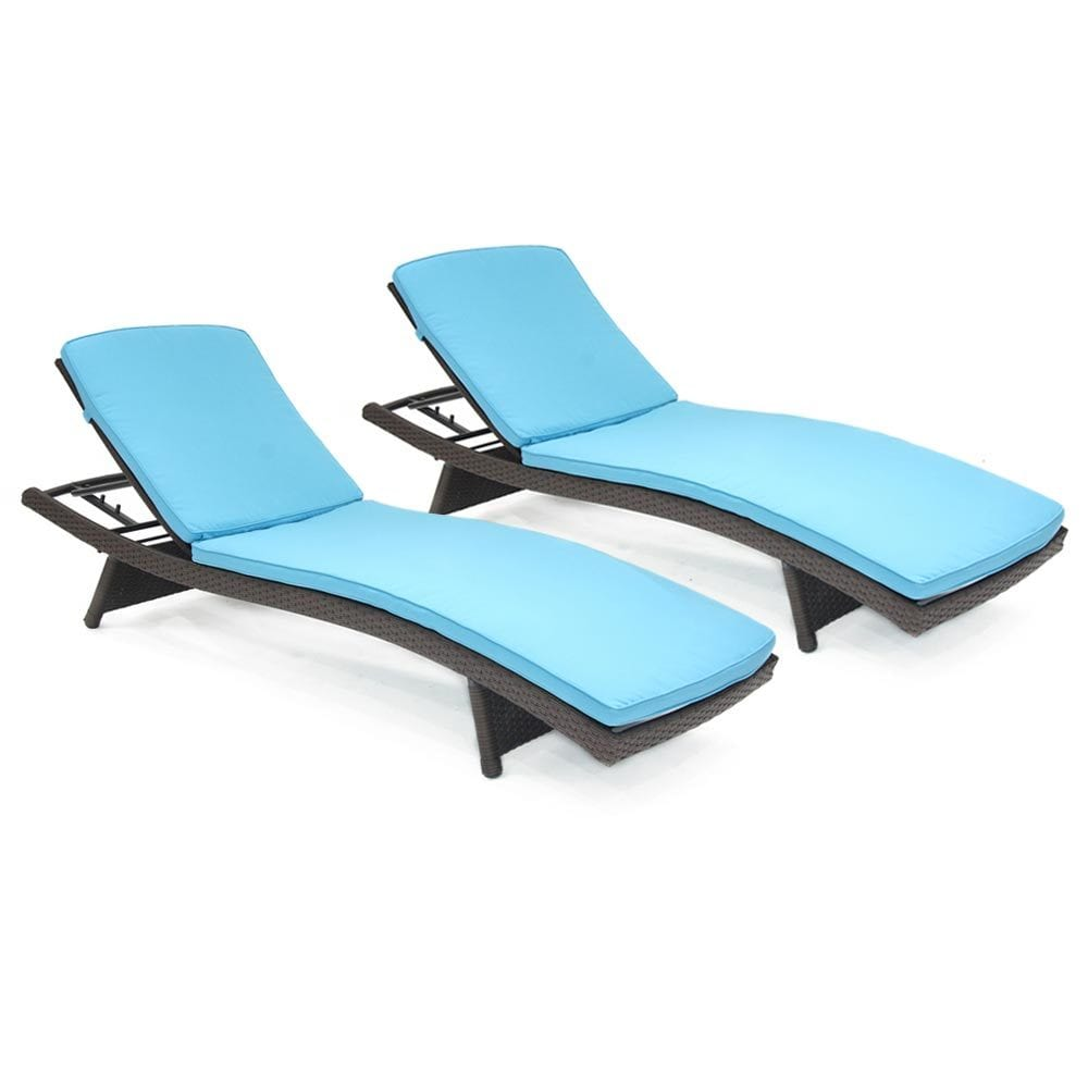 Kontiki Beach Pool & Lounge Resin Wicker Chaise Loungers Contour Set o