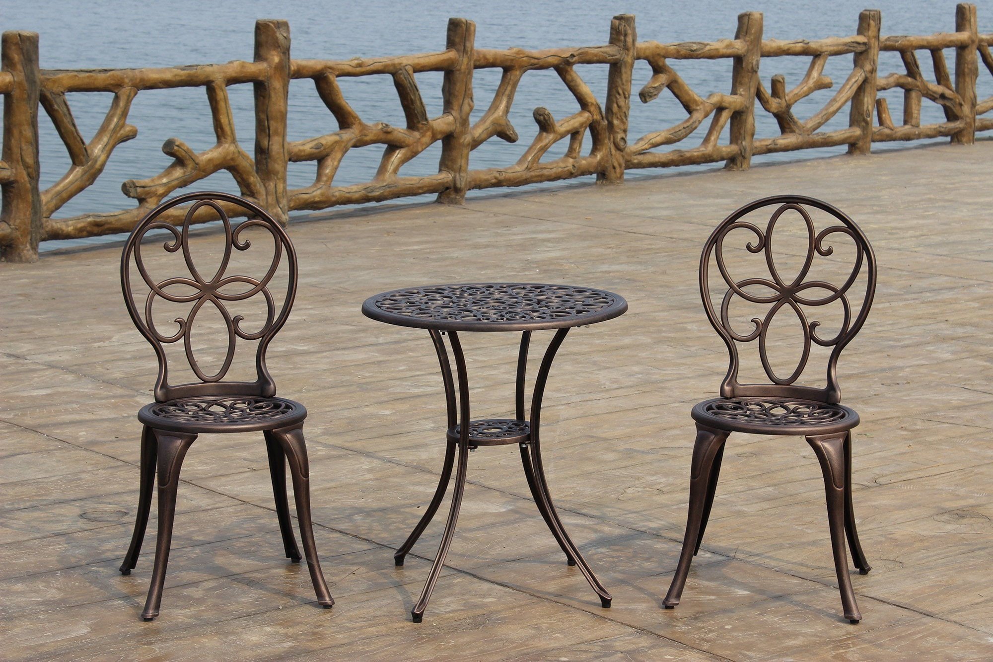 kontiki bistro sets metal bistro sets antique bronze cast aluminum 3 piece bistro set. Black Bedroom Furniture Sets. Home Design Ideas