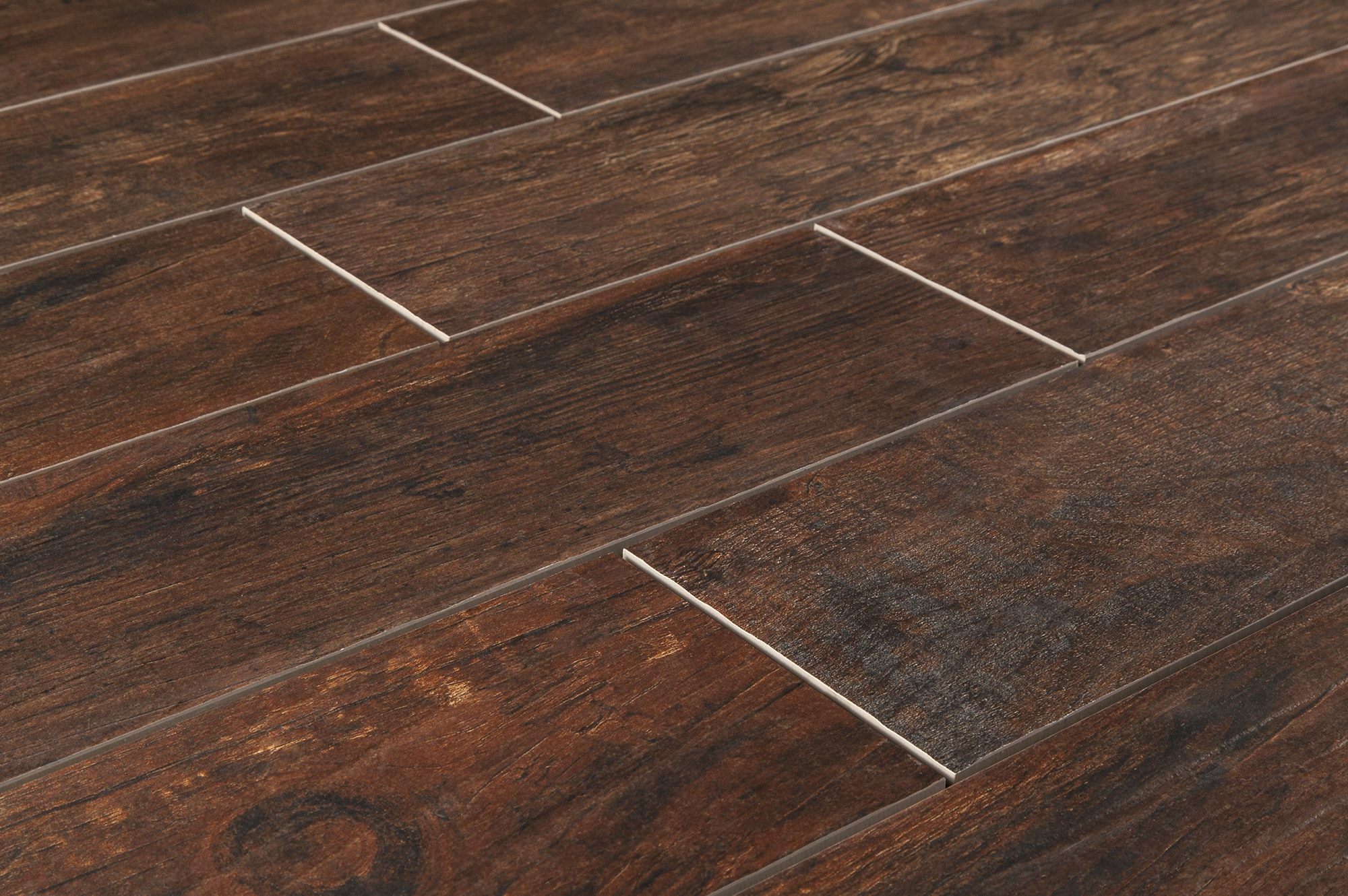 Cabot porcelain tile redwood series mahogany 6 x36 for Tile and hardwood floor