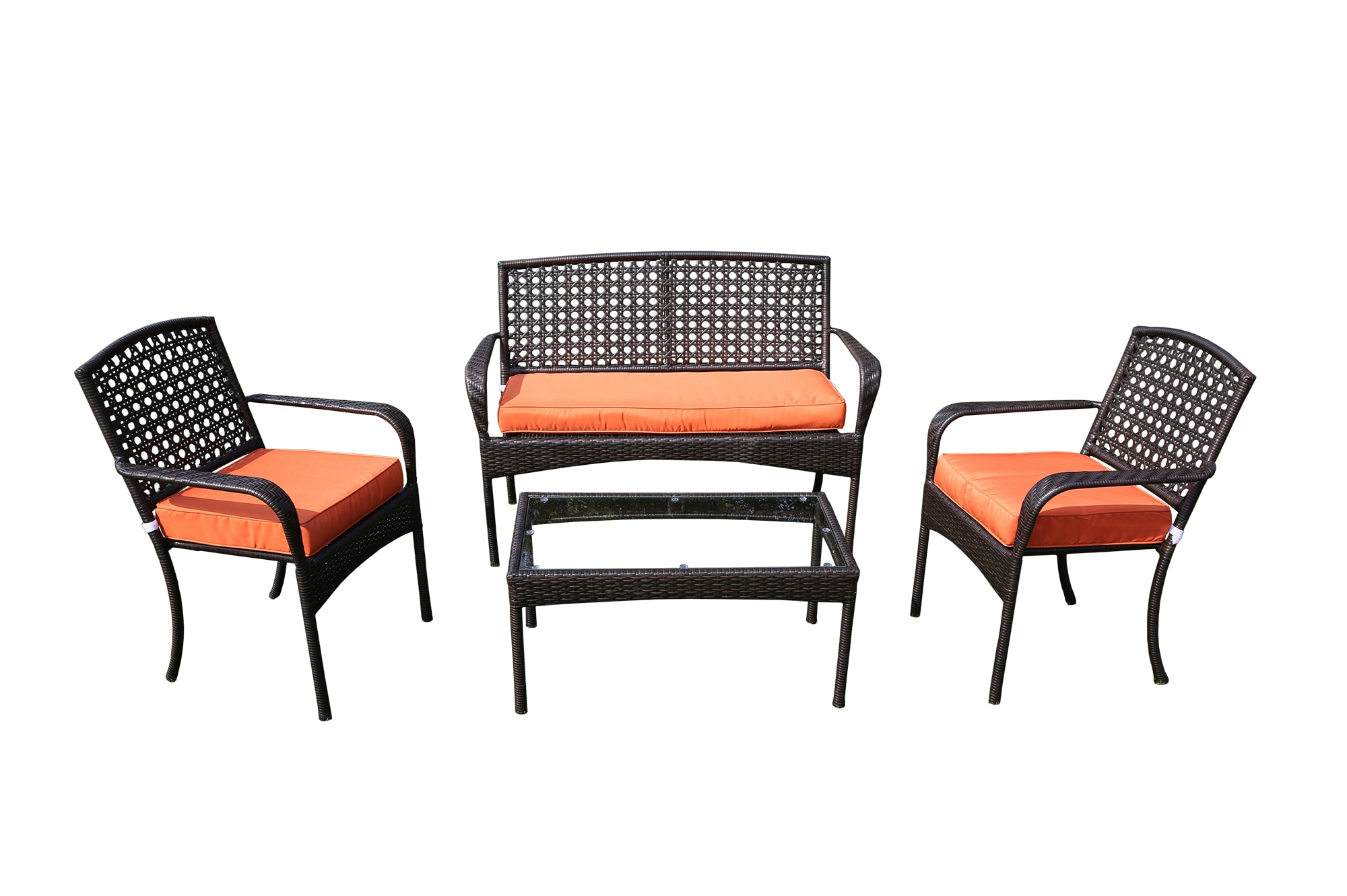 Kontiki Conversation Sets Metal Sofa Sets Viona 4 Piece Conversation Set Orange