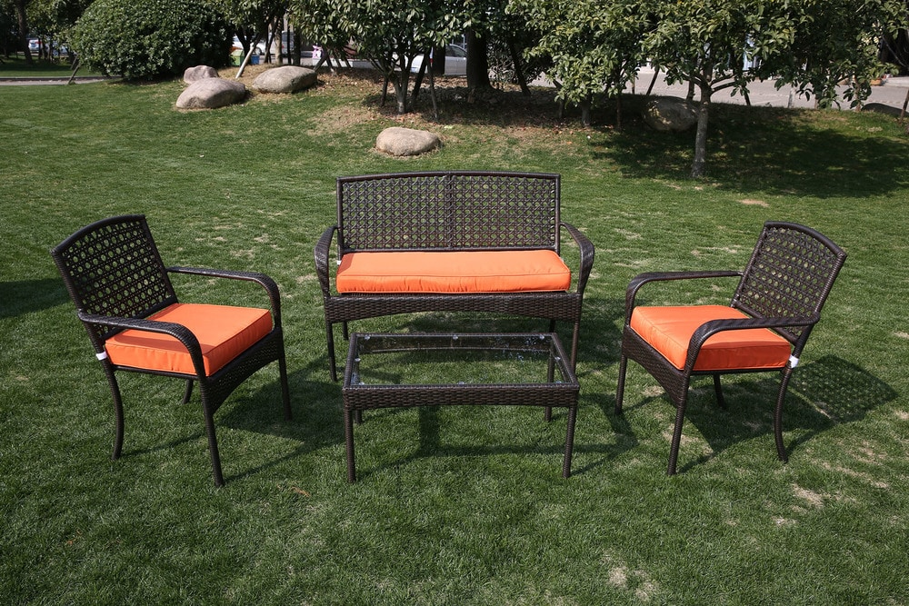 - Viona 4 Piece Conversation Set -  Orange - sku:10106199
