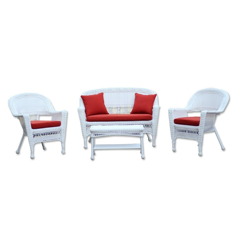 Kontiki Conversation Sets Wicker Chat Sets White Wicker 4 Piece Chat Set wi