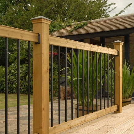 Railsimple wood railing kits traditional series pine for Timber decking handrail