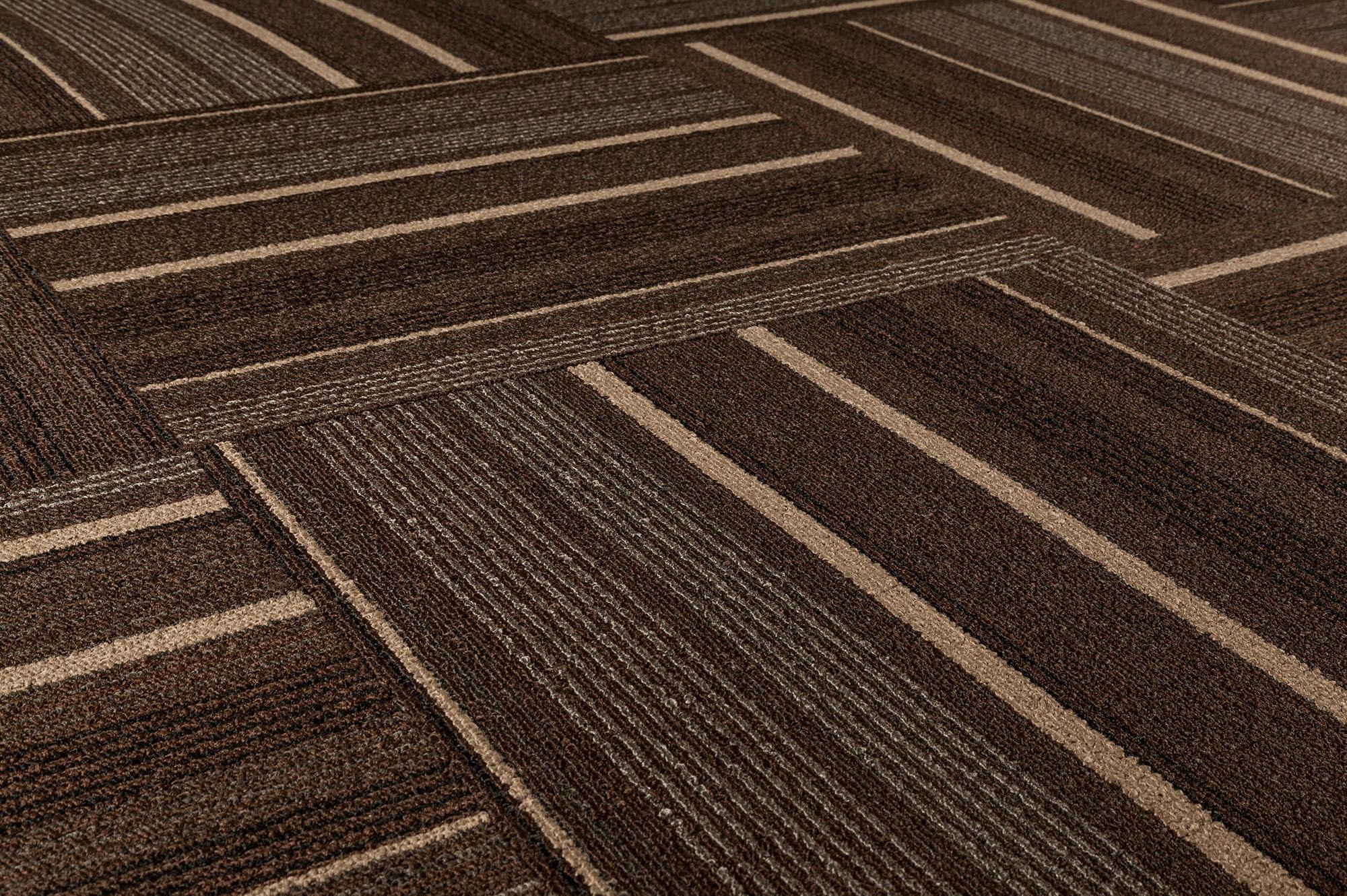 Dante Carpet Tile Lark Collection Dark Brown Stripe 19 2 3 X19 2 3