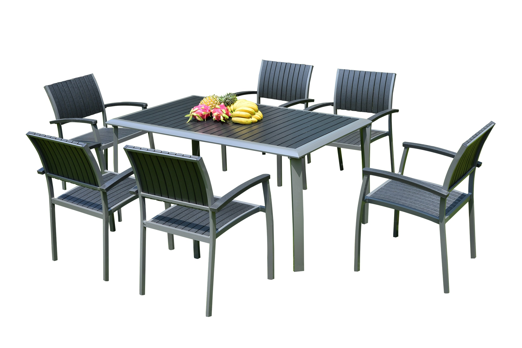 Kontiki dining sets composite medium ideal for 6 seats Synthetic wood patio furniture