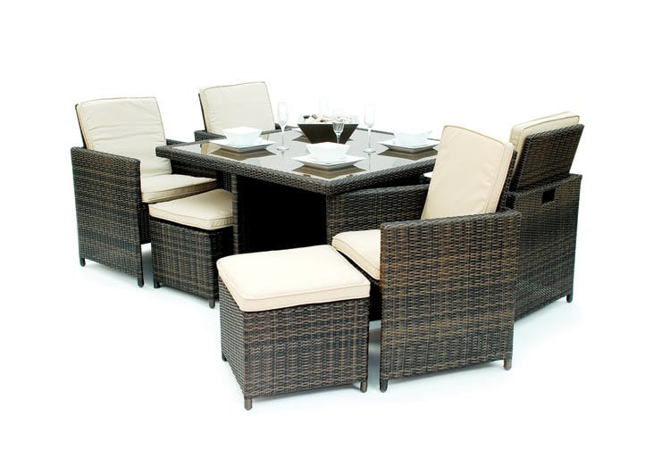 Kontiki Dining Sets Wicker Small Ideal for 4 Seats Monte Carlo 9 Piece Di