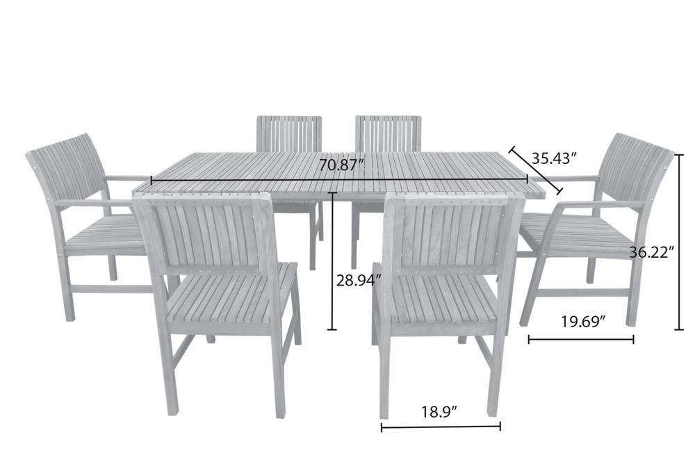 - Adamo 7 Piece Teak Dining Set - sku:10108000