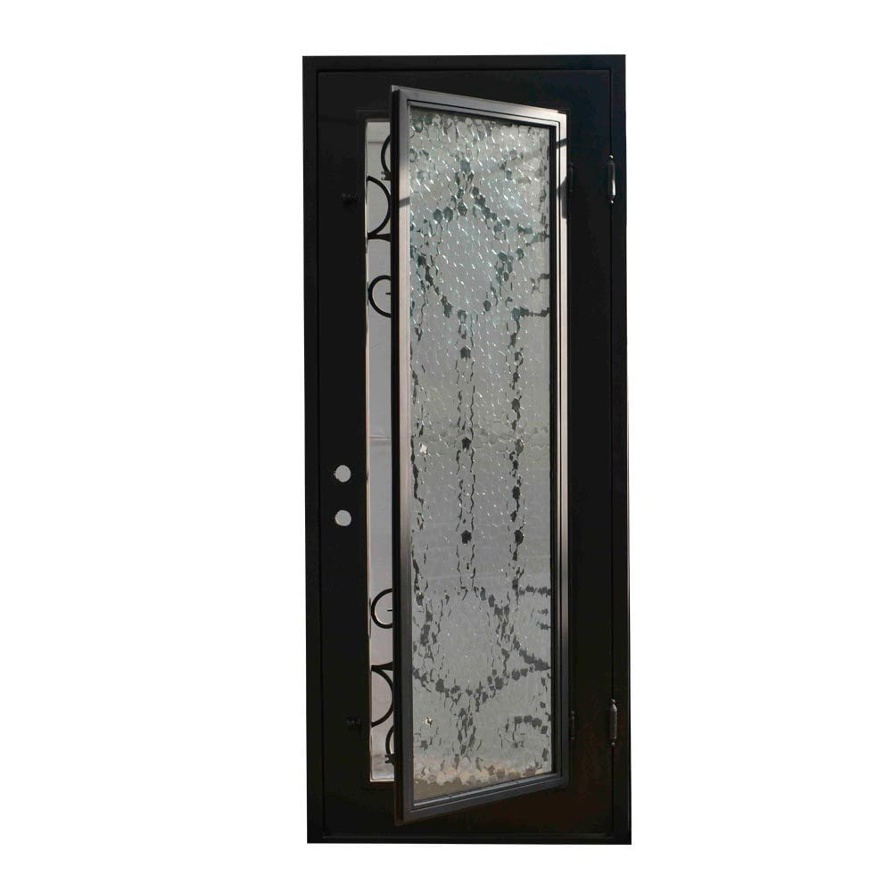 Grafton Exterior Wrought Iron Glass Doors Castle Full Light Collection Black Left Hand Inswing