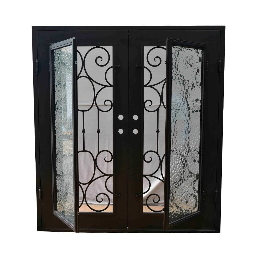 Grafton Exterior Wrought Iron Glass Doors Castle Full Light Collection Black Right Inswing 82
