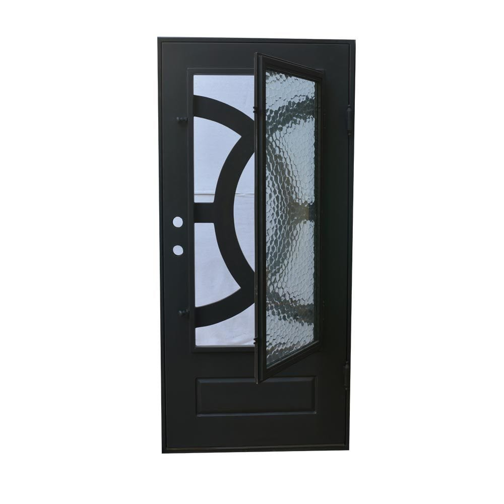 Grafton Exterior Wrought Iron Glass Doors Eclipse Collection Black Left Hand Inswing 82 X38