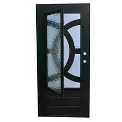 Grafton Exterior Wrought Iron Glass Doors Eclipse Collection Black Right Hand Inswing 82 X38