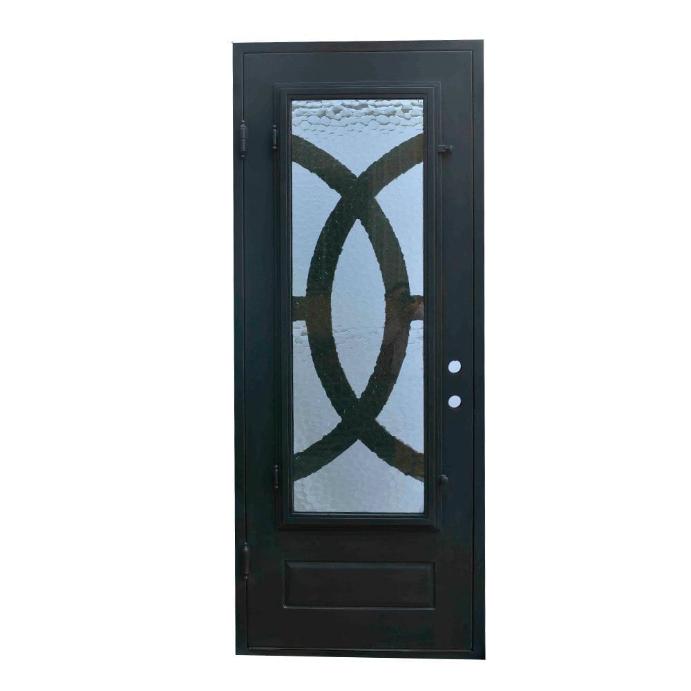 Grafton Exterior Wrought Iron Glass Doors Eclipse Collection Black Right Hand Inswing 98 X40