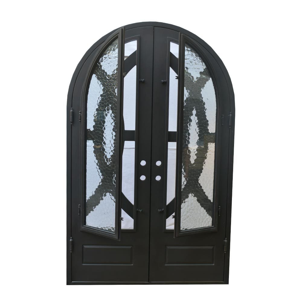 Grafton Exterior Wrought Iron Glass Doors Eclipse Collection Black Right Hand Inswing 98 X62