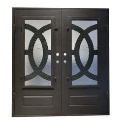 Grafton Exterior Wrought Iron Glass Doors Eclipse Collection Black Right Hand Inswing 82 X74