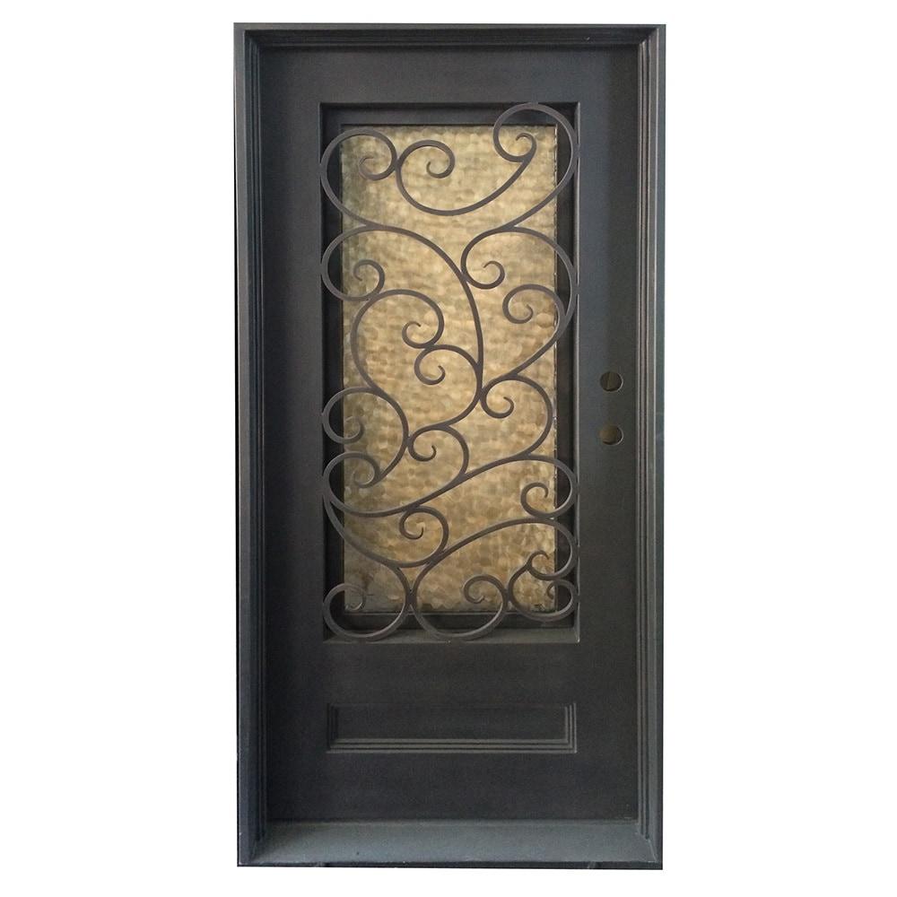 Grafton Exterior Wrought Iron Glass Doors Fern Collection Black Left Hand Inswing 82 X38 Flat Top