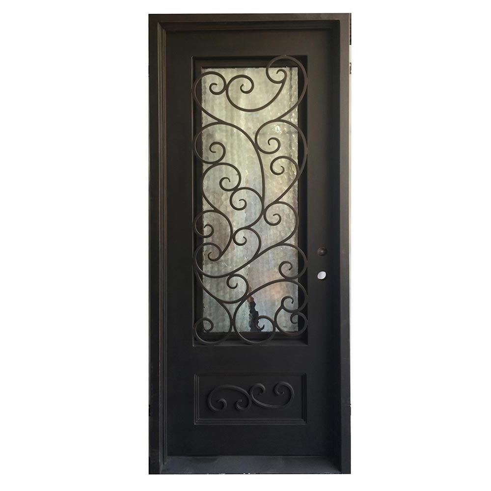 Grafton Exterior Wrought Iron Glass Doors Fern Collection Black Left Hand Inswing 98 X40 Flat Top