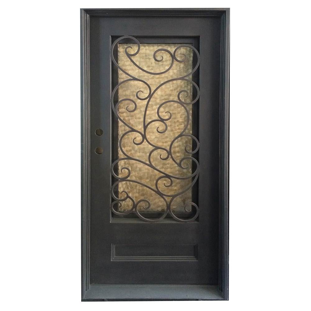 Grafton Exterior Wrought Iron Glass Doors Fern Collection Black Right Hand Inswing 82 X38 Flat Top