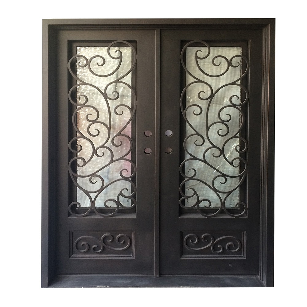Grafton exterior wrought iron glass doors fern collection for Wrought iron entry doors