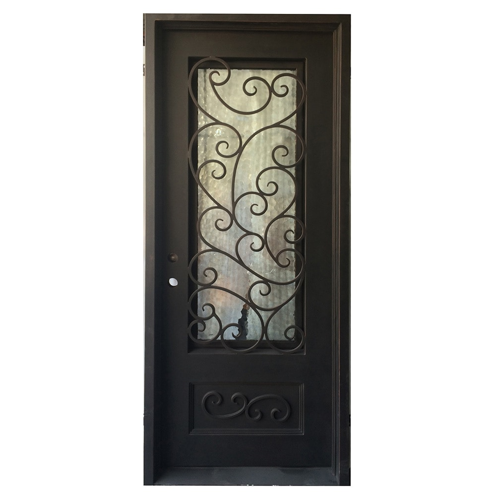 Grafton Exterior Wrought Iron Glass Doors Fern Collection Black Right Hand Inswing 98 X40 Flat Top