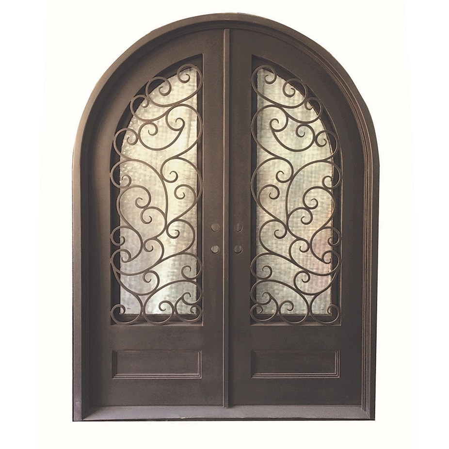 Grafton Exterior Wrought Iron Glass Doors Fern Collection Black Right Hand Inswing 98 X74 Round Top