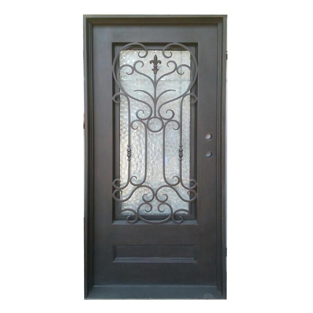 Grafton Exterior Wrought Iron Glass Doors Roman Collection Black Left Hand Inswing 82 X38 Flat Top