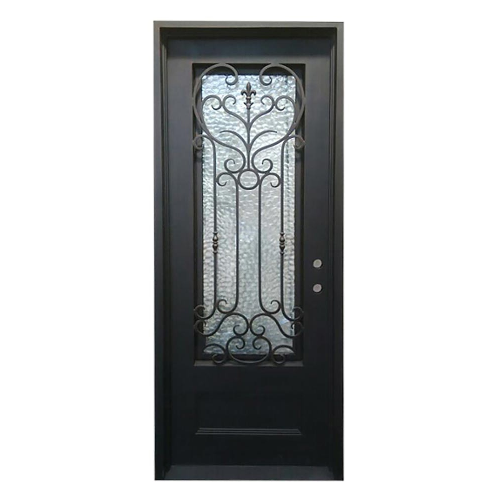 Grafton Exterior Wrought Iron Glass Doors Roman Collection Black Left Hand Inswing 98 X40 Flat Top