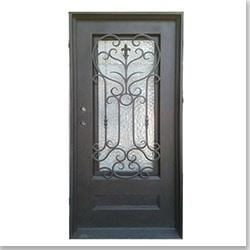 Grafton Exterior Wrought Iron Glass Doors Roman Collection Black Right Hand Inswing 82 X38 Flat Top