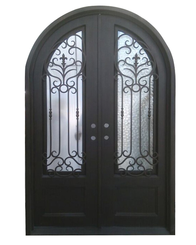 Grafton Exterior Wrought Iron Glass Doors Roman Collection Black Right Hand Inswing 98 X62