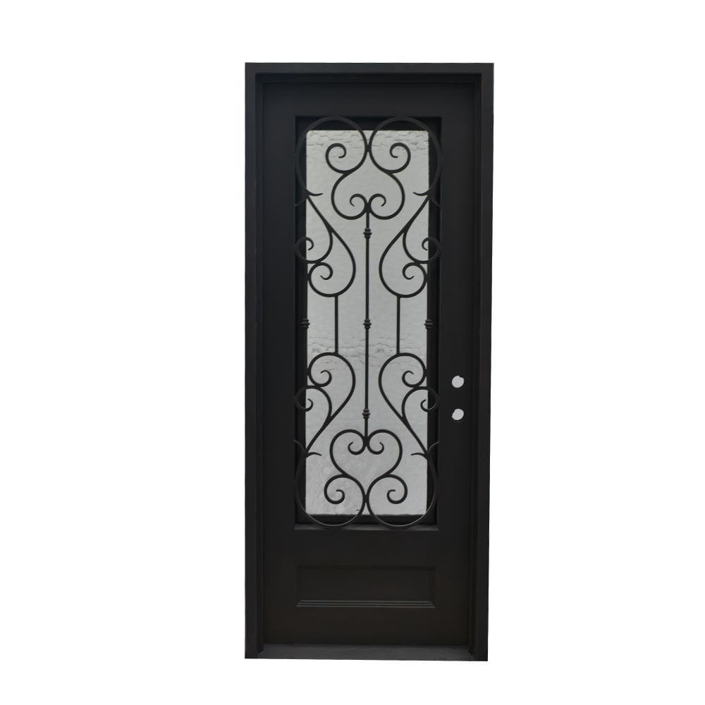 Grafton Exterior Wrought Iron Glass Doors Vine Collection Black Left Hand Inswing 98 X40 Flat Top