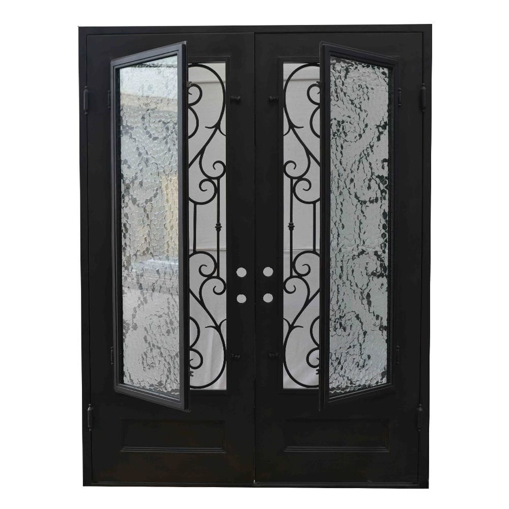 Grafton Exterior Wrought Iron Glass Doors Vine Collection Black Right Hand Inswing 82 X62 Flat Top