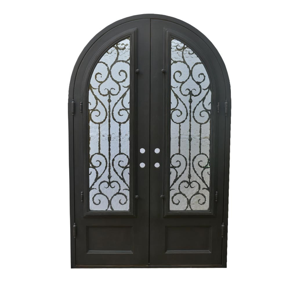 Grafton Exterior Wrought Iron Glass Doors Vine Collection Black Right Hand Inswing 98 X62 Round Top
