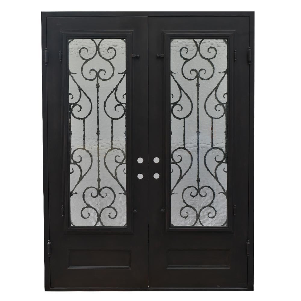Grafton Exterior Wrought Iron Glass Doors Vine Collection Black Right Hand Inswing 98 X74 Flat Top