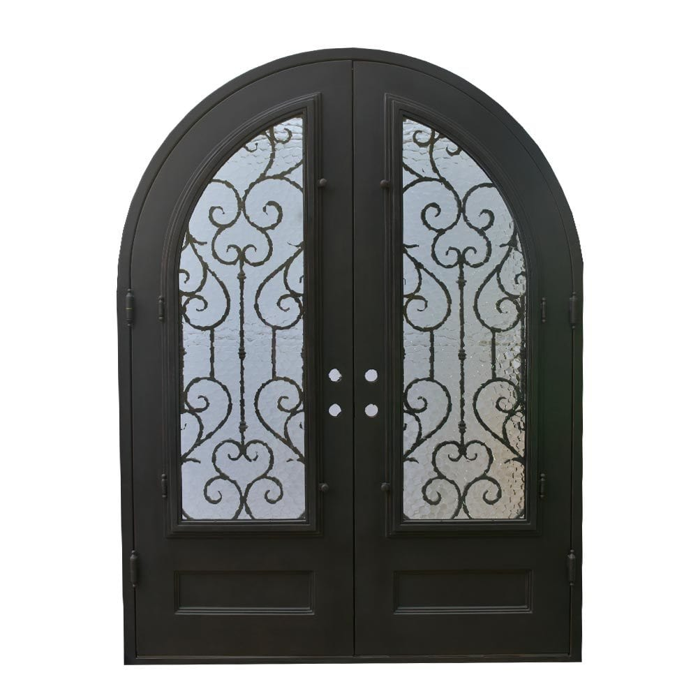 Grafton Exterior Wrought Iron Glass Doors Vine Collection Black Right Hand Inswing 98 X74 Round Top