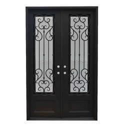 Grafton Exterior Wrought Iron Glass Doors Vine Model 101046501 Exterior Doors