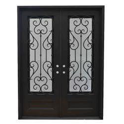 Grafton Exterior Wrought Iron Glass Doors Vine Model 101046521 Exterior Doors
