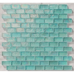"Tiles & Deco AQUAMARINE 1"" X 2"" GLASS MOSAIC BRICK SHAPE POOL MOSAIC Model 151363191 Kitchen Glass Mosaics"