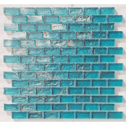 "Tiles & Deco TURQUOISE 1"" X 2"" GLASS MOSAIC BRICK SHAPE POOL Model 151363201 Kitchen Glass Mosaics"