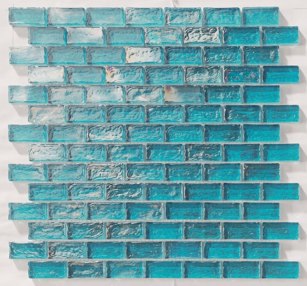 "Turquoise Kitchen Wall Tiles: Tiles And Deco TURQUOISE 1"" X 2"" GLASS MOSAIC BRICK SHAPE"