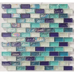 "Tiles & Deco BLUE BLEND 1"" X 2"" GLASS MOSAIC BRICK SHAPE POOL Model 151363211 Kitchen Glass Mosaics"