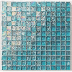 "Tiles & Deco TURQUOISE 1"" X 1"" GLASS MOSAIC POOL Model 151363241 Kitchen Glass Mosaics"