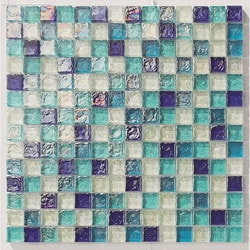 "Tiles & Deco BLUE BLEND 1"" X 1"" GLASS MOSAIC POOL Model 151363251 Kitchen Glass Mosaics"