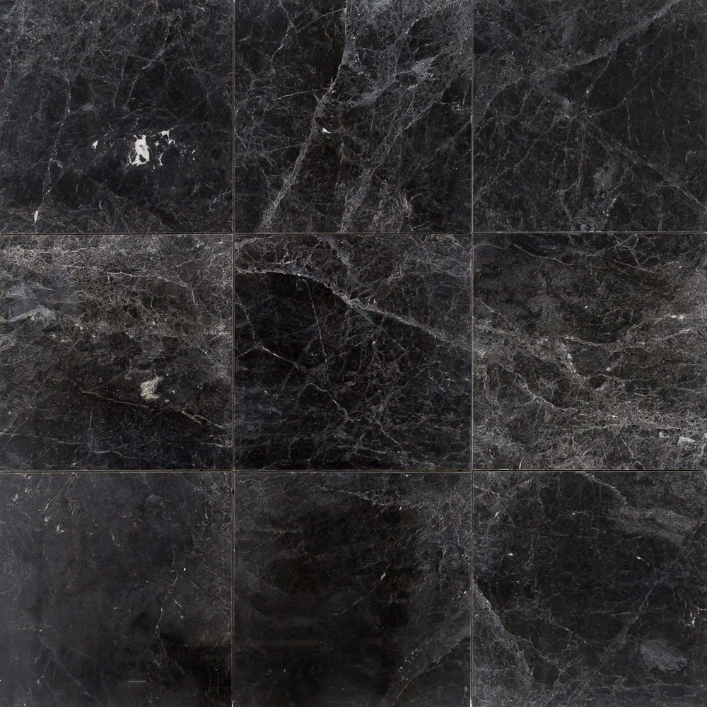 "Kitchen Tiles Marble: Troya Marble Tile Sirius Black / 12""x12""x1/2"" / Polished"