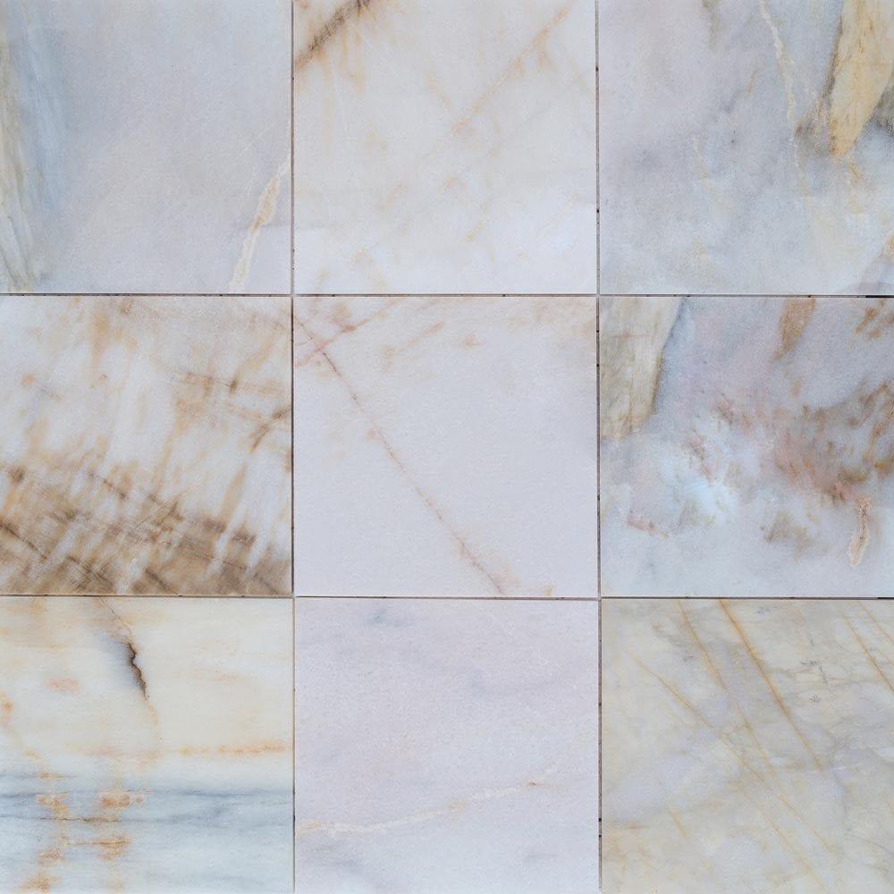 12x12 Tile Bathroom Wall: FREE Samples: Troya Marble Tile Giallo Bianco White / 12