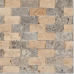 Kesir Travertine Mosaic Stacked Stone Brick Series Model 100960371 Kitchen Stone Mosaics