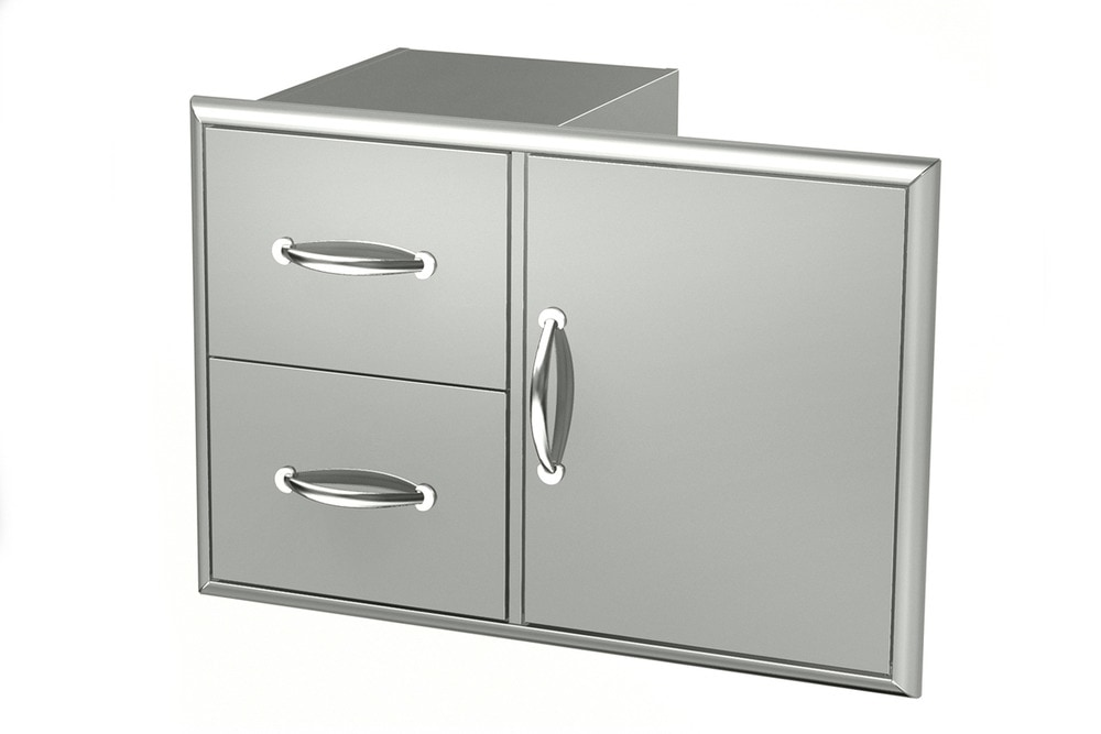 Broilchef stainless steel drawers stainless steel double for Stainless steel drawers kitchen