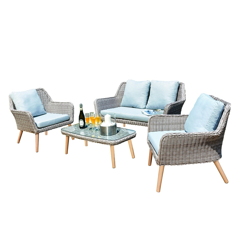 Kontiki conversation sets wicker rattan outdoor for Patio lounge sets