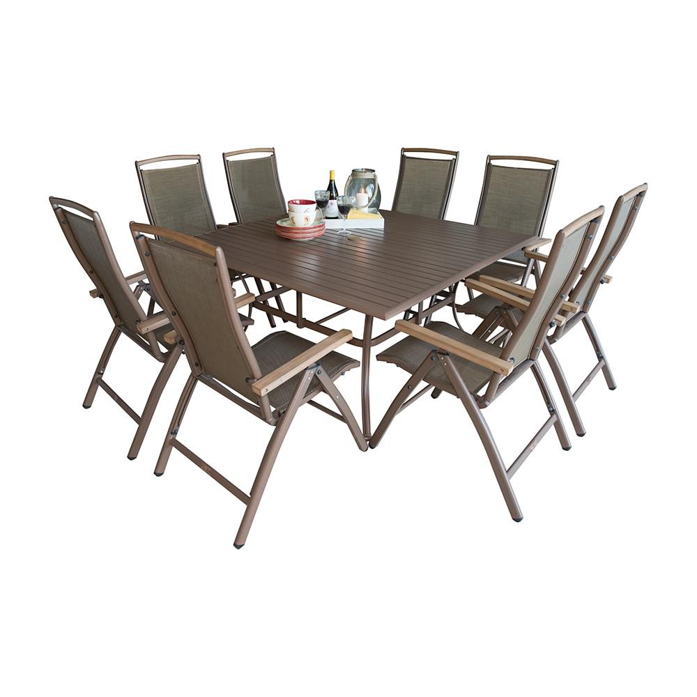 Panama Jack Island Breeze Collection Multi Position Aluminum Dining Set 9 P