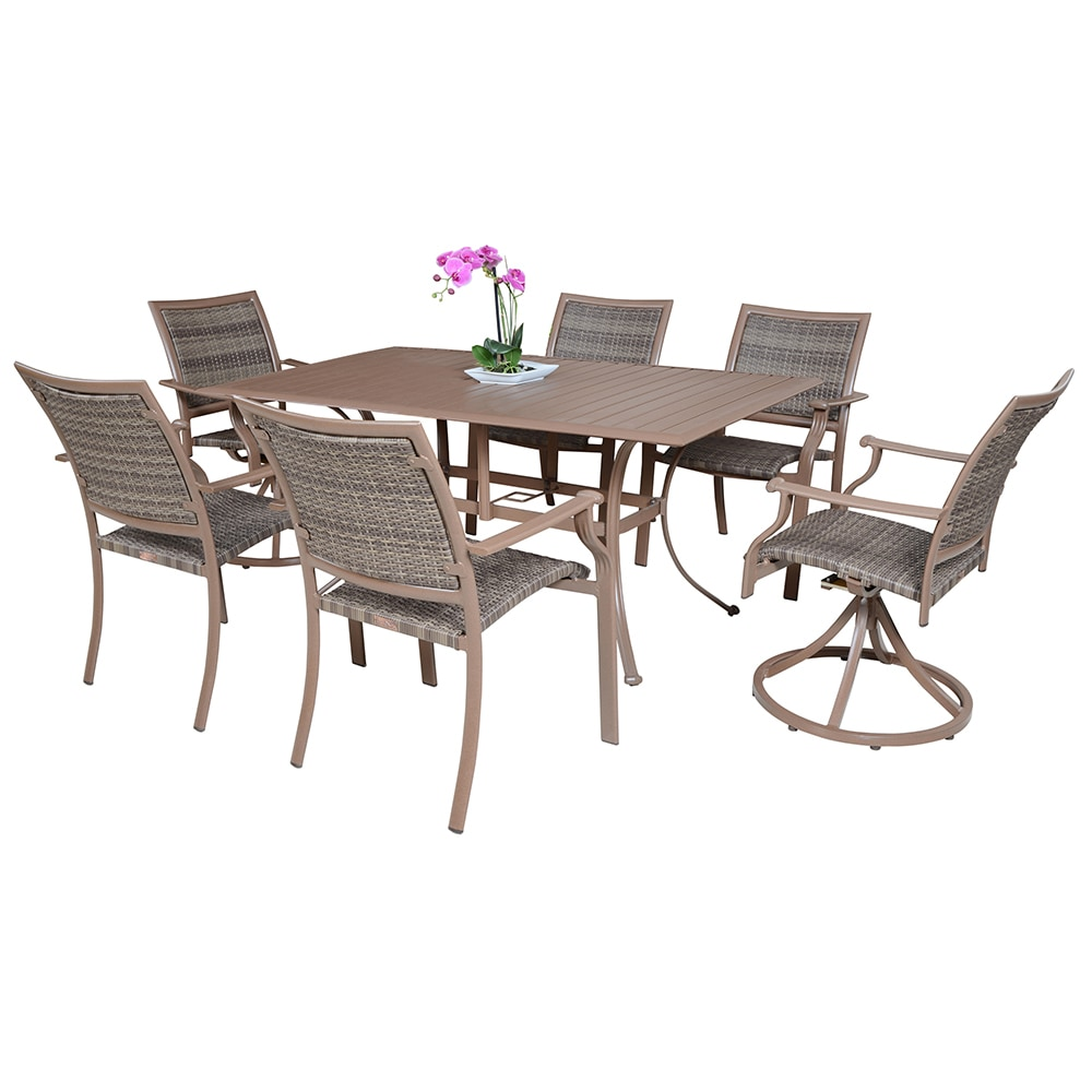 Panama jack island cove collection swivel dining set 7 piece for Furniture jack